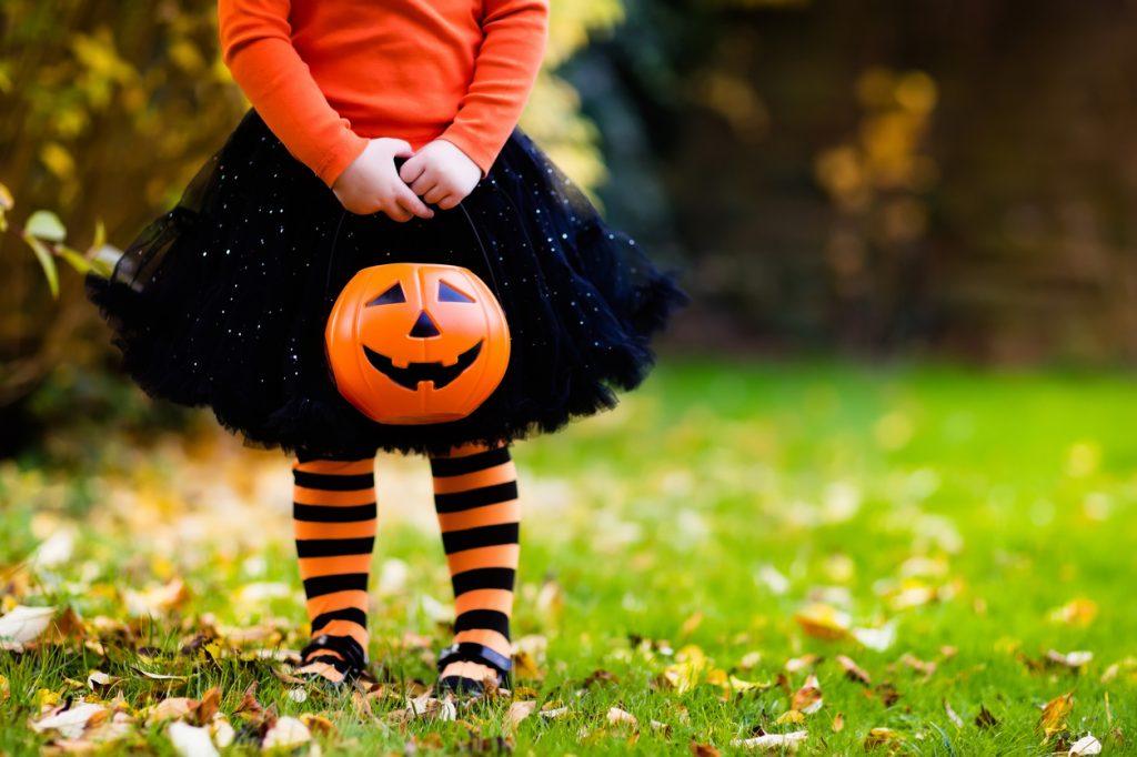 Little girl in costume on Halloween