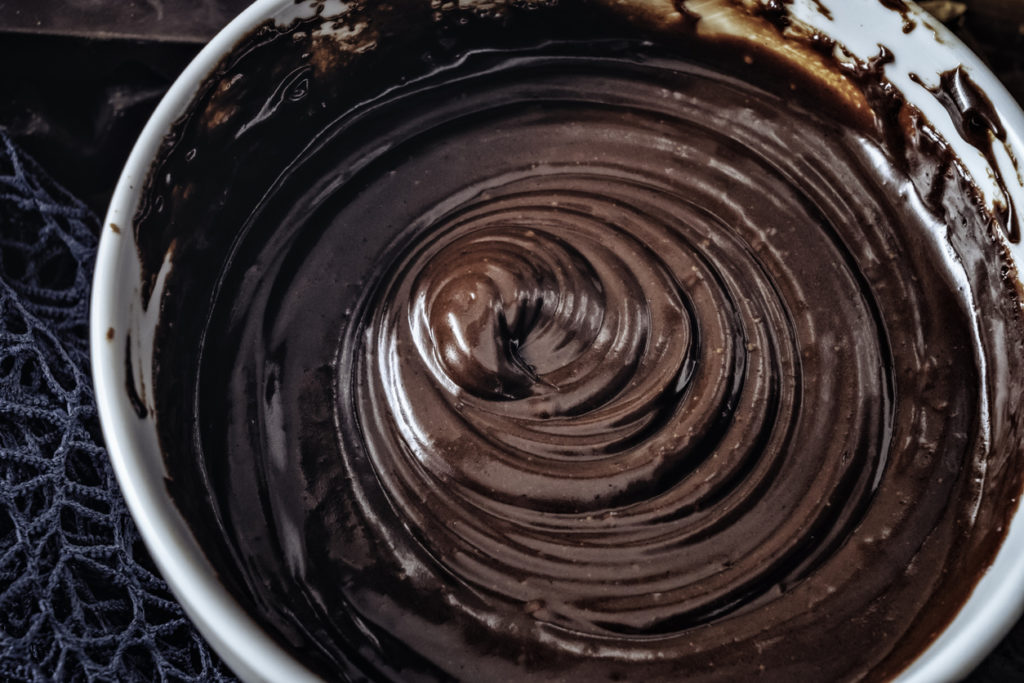Close-Up of chocolate mousse making