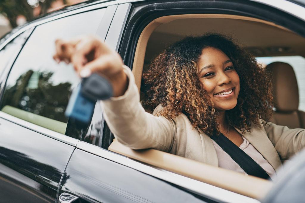 Shot of businesswoman holding car keys